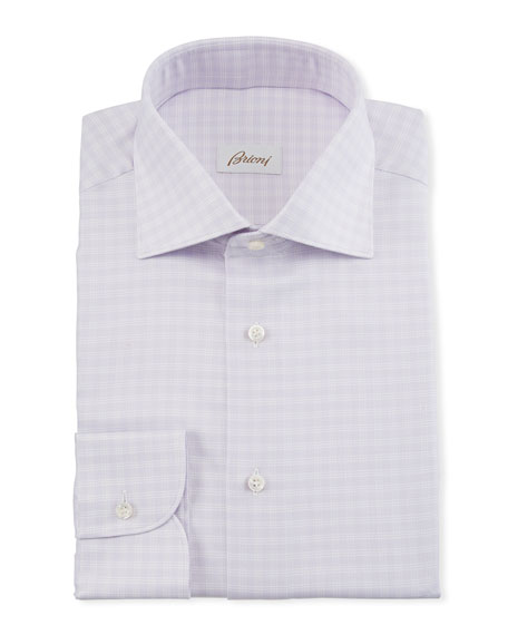 Image 1 of 2: Brioni Men's Lavender Plaid Dress Shirt