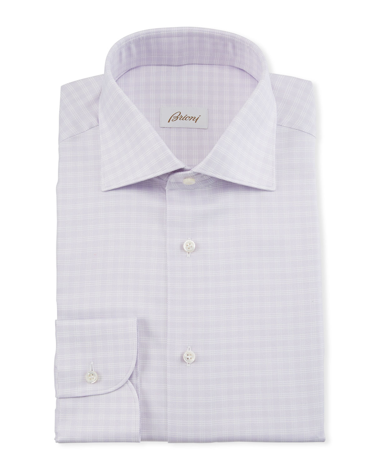 Brioni Men's Lavender Plaid Dress Shirt
