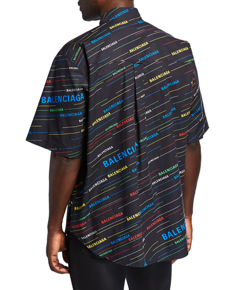 Balenciaga Men's Logo-Print Short-Sleeve Sport Shirt