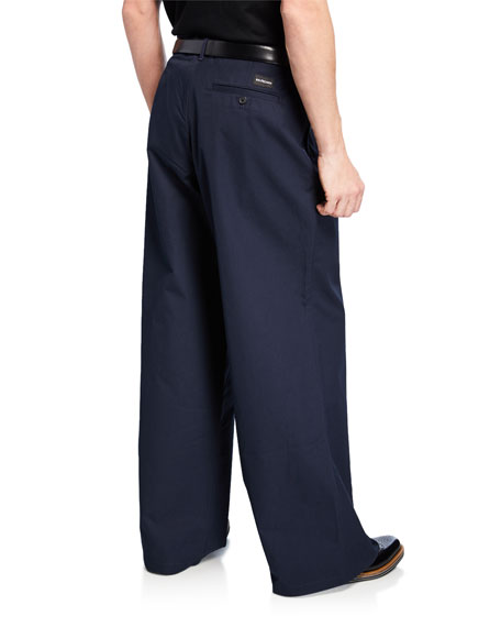 Balenciaga Men's Wide-Leg Cotton Trousers