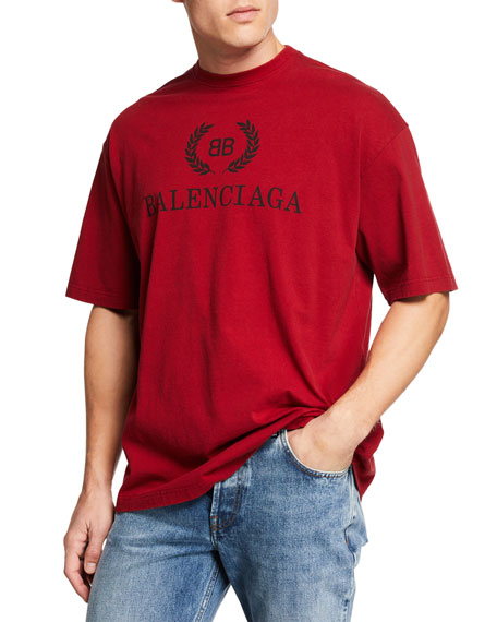 Balenciaga Men's Logo Typographic Oversized T-Shirt