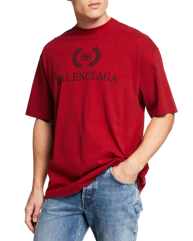 f8cfdd4f Balenciaga Men's Logo Typographic Oversized T-Shirt | Neiman Marcus