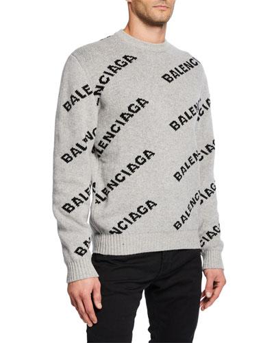 Men's Logo Intarsia Crewneck Sweater