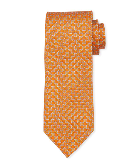 Salvatore Ferragamo Block Gancio Silk Tie, Orange
