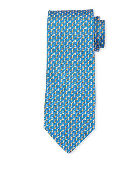 Salvatore Ferragamo Cocktail Print Silk Tie, Blue