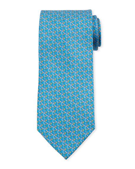 Salvatore Ferragamo Bird-Print Silk Tie, Blue