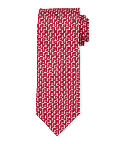 Cocktail Print Silk Tie  Red