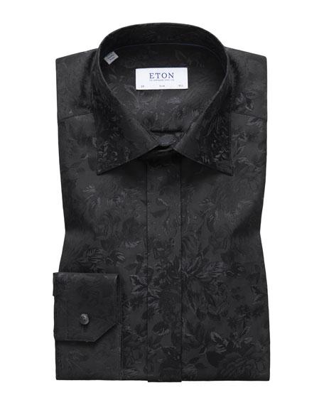 Eton Men's Slim Fit Tonal Floral Formal Dress Shirt
