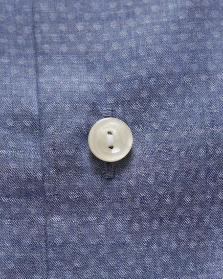 Eton Men's Slim Fit Textured Solid Flanella Dress Shirt