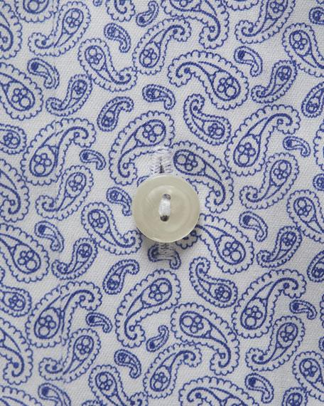 Eton Men's Contemporary Fit Paisley Pines Print Dress Shirt