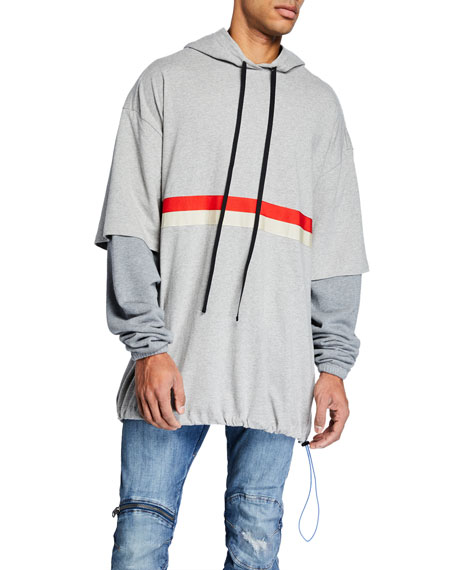 UNRAVEL Men's Chest-Striped Pullover Hoodie