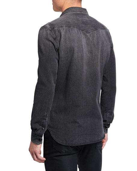7 For All Mankind Men's Western Shirt in Greystone Black