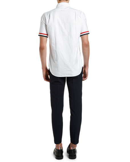 Thom Browne Men's Tricot-Trim Short-Sleeve Oxford Shirt