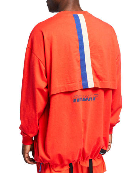 UNRAVEL Men's Drawstring-Hem Long-Sleeve T-Shirt
