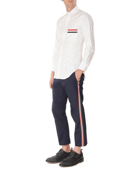 Thom Browne Men's Oxford Tricot Pocket Trim Sport Shirt
