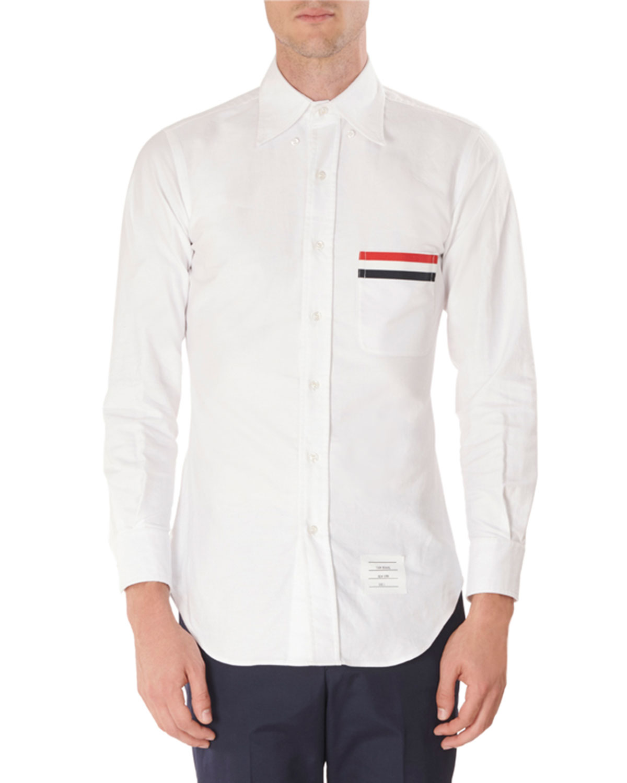 f03630dc281 Thom Browne Men's Oxford Tricot Pocket Trim Sport Shirt | Neiman Marcus
