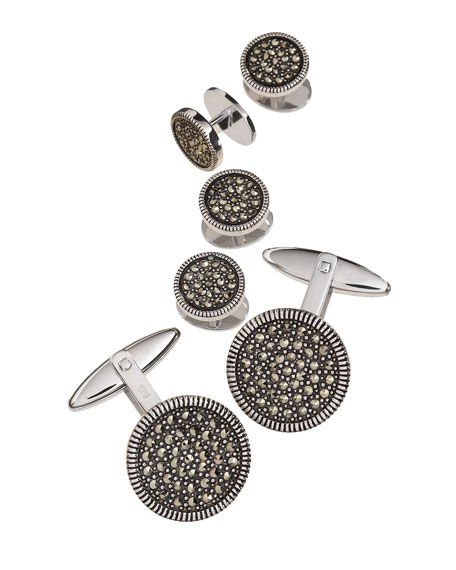Jan Leslie Round Marcasite Cuff Link and Stud Set