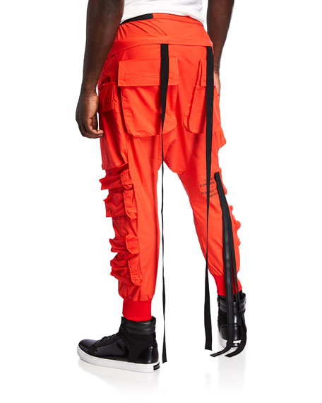UNRAVEL Men's Drop-Crotch Tapered Cargo Pants