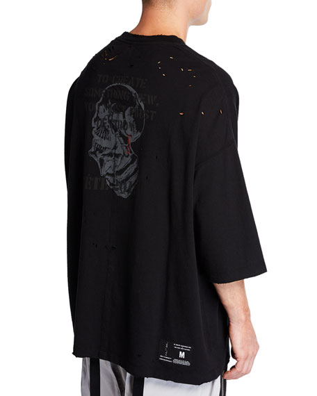 UNRAVEL Men's Distressed T-Shirt with Skull