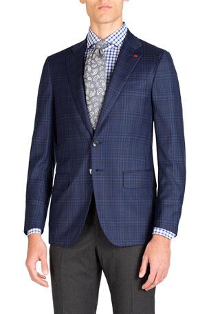 Isaia Men's Tonal Plaid Two-Button Jacket