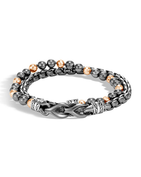 John Hardy Men's Asli Classic Chain Double-Wrap Bracelet, Black/Gray