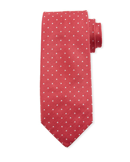 Isaia Dot-Pattern Silk Tie, Red