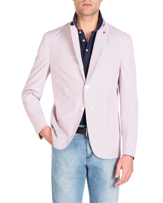 Isaia Men S Striped Seersucker Blazer Neiman Marcus