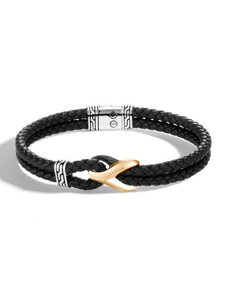 John Hardy Men's Classic Chain 18k Gold Leather Bracelet