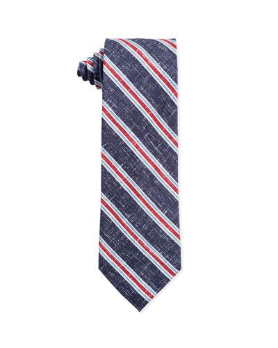 Tri-Color Stripe Silk Tie