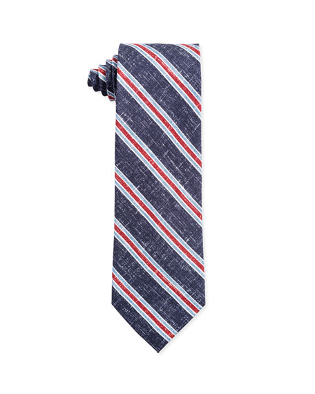 Isaia Ties TRI-COLOR STRIPE SILK TIE