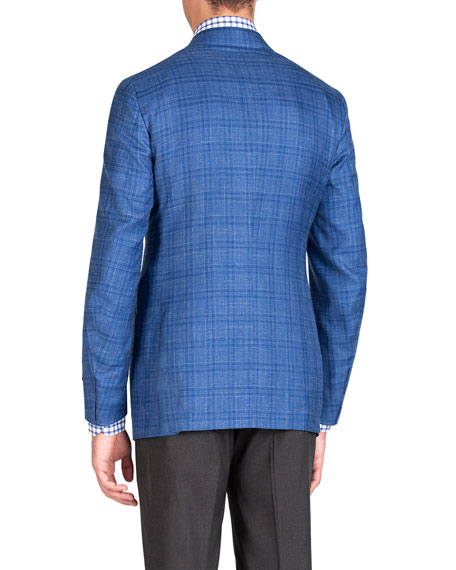 Isaia Men's Linen-Effect Plaid Two-Button Jacket
