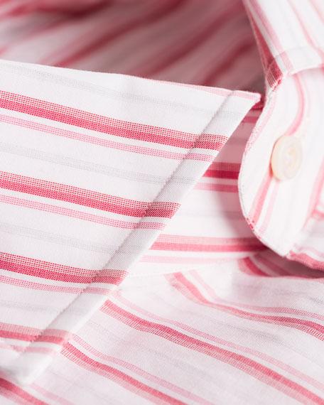Isaia Multi-Stripe Cotton Dress Shirt, Pink