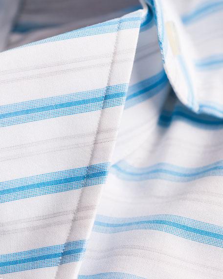 Isaia Multi-Stripe Cotton Dress Shirt, White/Blue