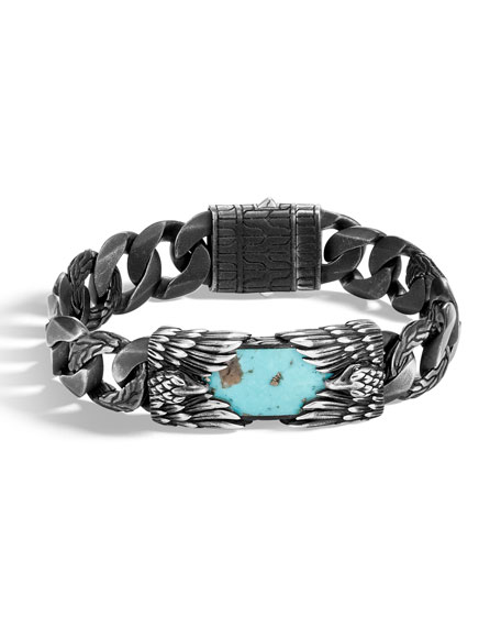 John Hardy Men's Legends Eagle Turquoise & Pyrite Bracelet
