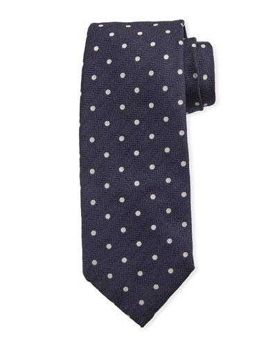 Dot-Pattern Silk Tie  Navy Blue