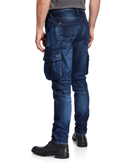 Men's Dark Wash Denim Cargo Jeans