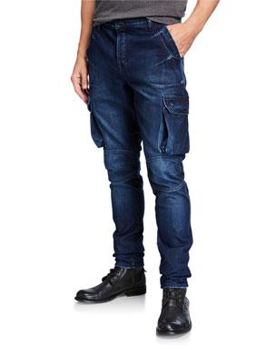 2128ee41203 PRPS Men s Dark Wash Denim Cargo Jeans