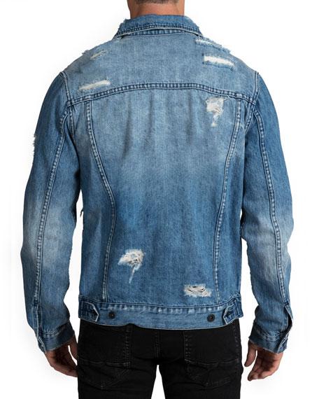 PRPS Men's Light Wash Destroyed Denim Jacket
