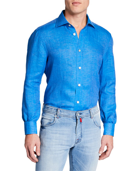 Kiton Men's Linen Chambray Sport Shirt