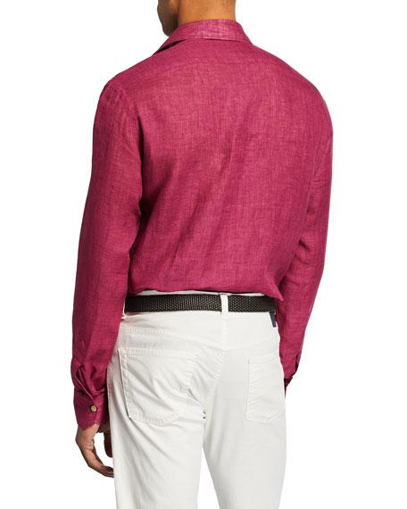 Kiton Men's Linen Sport Shirt