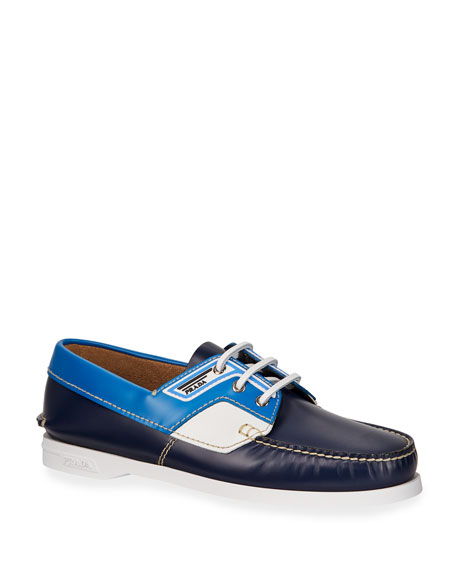 Prada Men's Lace-Up Leather Boat Shoes