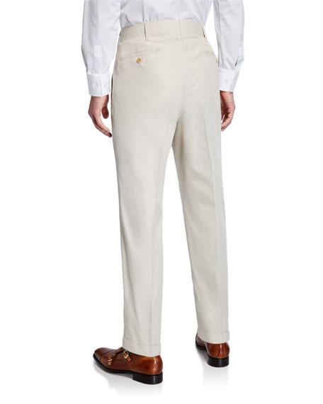 Ambrosi Napoli Men's Flat-Front Twill Trousers