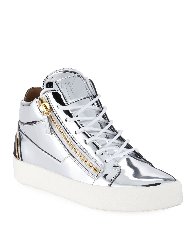 543011eca6962 Giuseppe Zanotti Men's Metallic Leather Mid-Top Sneakers | Neiman Marcus