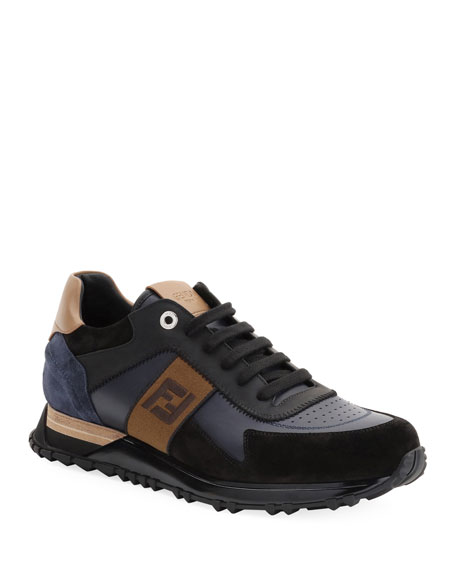 Fendi Men's FF Embroidered-Stripe Leather Runner Sneakers