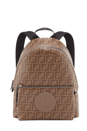 Fendi Men's FF Allover-Print Coated Canvas Backpack