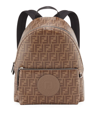 c57f247c03c5 Fendi Men s FF Allover-Print Coated Canvas Backpack
