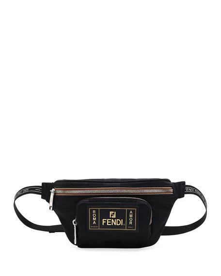 Fendi Men's Canvas Striped Belt Bag/Fanny Pack