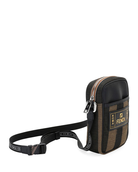 Fendi Men's Pequin Striped Canvas Crossbody Camera Bag