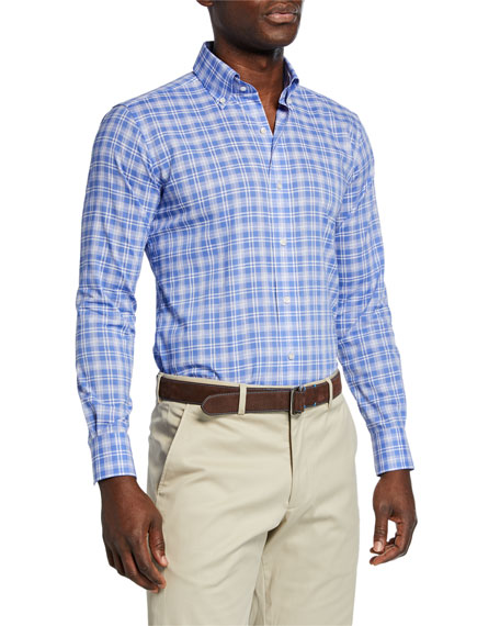 Peter Millar Men's Coastal Chambray Plaid Sport Shirt