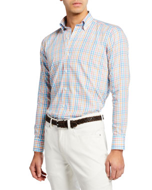 8b8b3d024 Peter Millar Men's Amalfi Check Long-Sleeve Sport Shirt